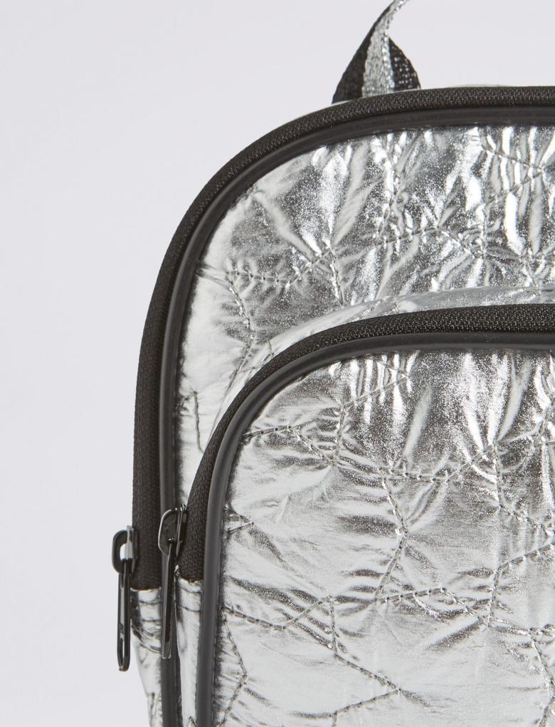 Metalik Metalik Yıldız Desenli Mini Sırt Çantası