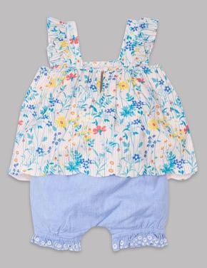Bebek Beyaz Çiçek Desenli Alt Üst Takım