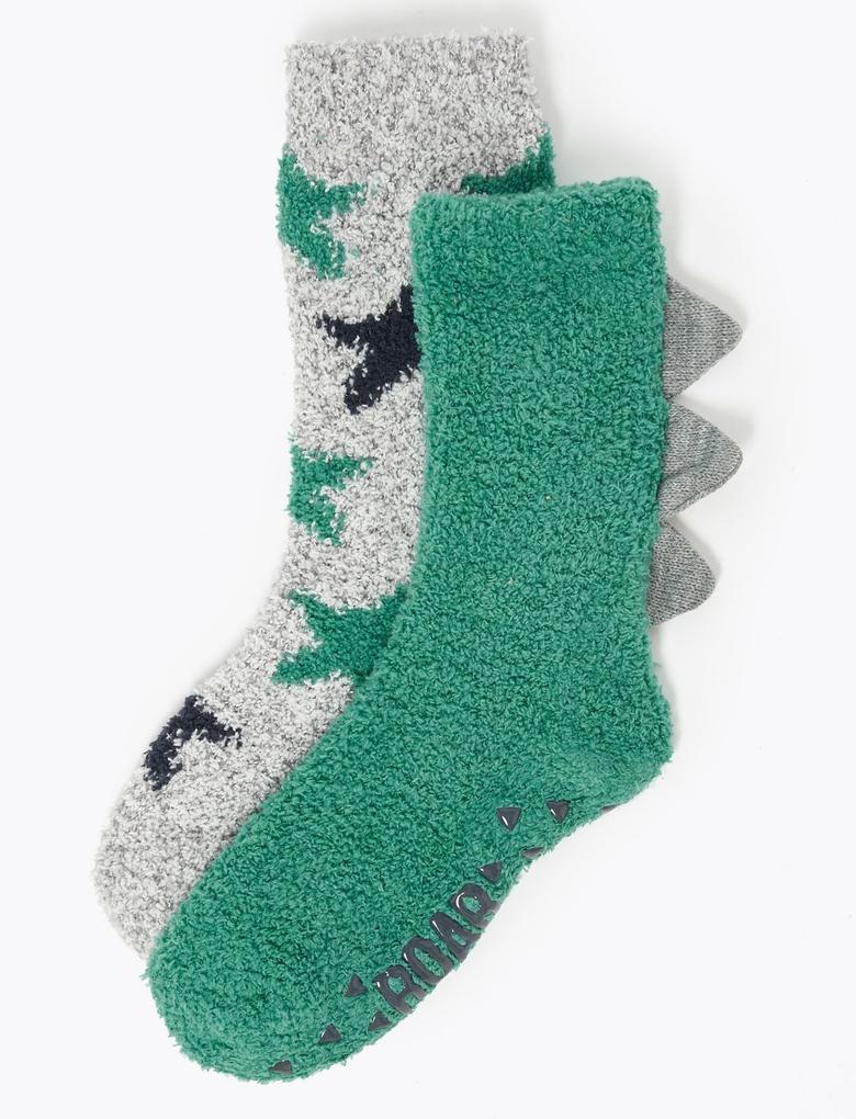Erkek Çocuk Yeşil 2'li Desenli Çorap Seti