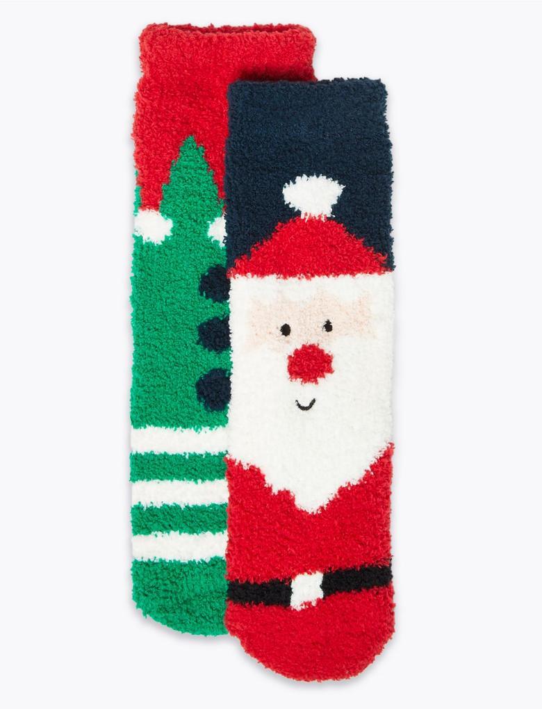 Çocuk Kırmızı 2'li Kardan Adam Çorap Seti