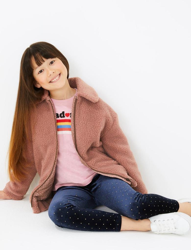 Kız Çocuk Lacivert Kadife Dokulu Simli Tayt