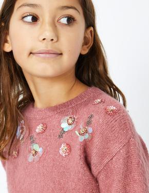 Kız Çocuk Pembe Çiçek İşlemeli Kazak
