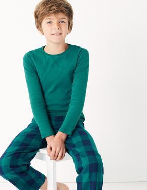 Erkek Çocuk Lacivert 2'li Ekose Pijama Seti