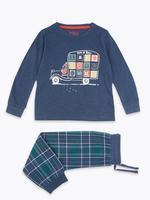 Erkek Çocuk Lacivert Desenli Pijama Takımı