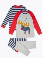 2'li Ren Geyiği Desenli Pijama Seti