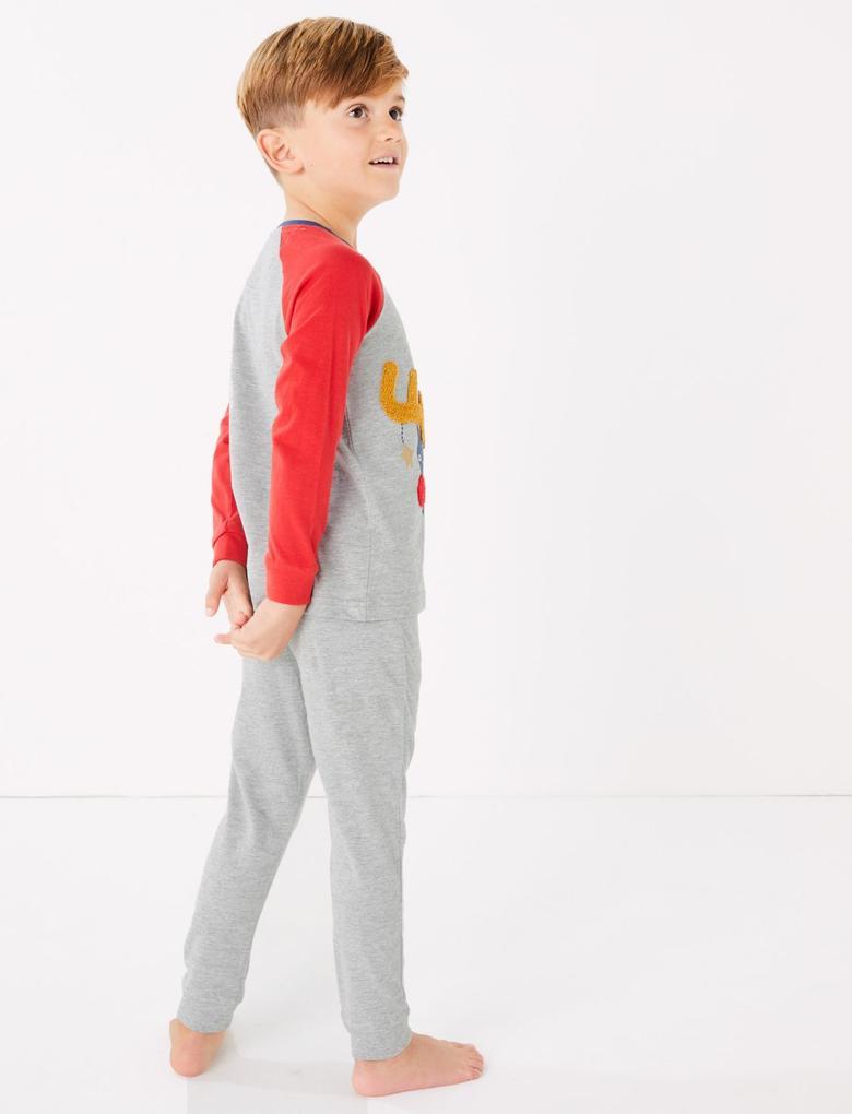 Erkek Çocuk Gri 2'li Ren Geyiği Desenli Pijama Seti