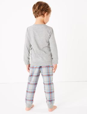 Erkek Çocuk Gri Penguen Desenli Pijama Takımı