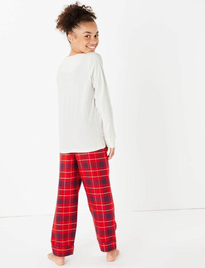 Kız Çocuk Kırmızı Tatty Teddy™ Ekose Pijama Takımı