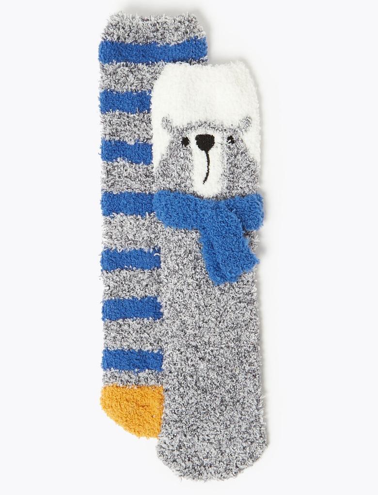 Erkek Çocuk Multi Renk 2'li Desenli Çorap Seti