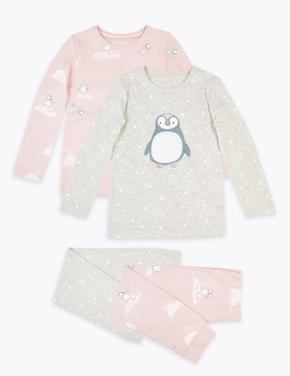 Kız Çocuk Gri 2'li Penguen Desenli Pijama Seti