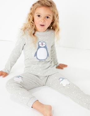 2'li Penguen Desenli Pijama Seti
