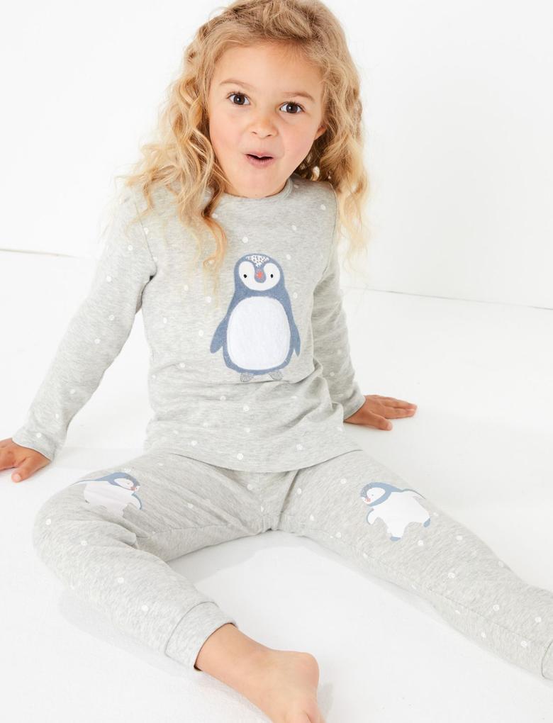 Gri 2'li Penguen Desenli Pijama Seti