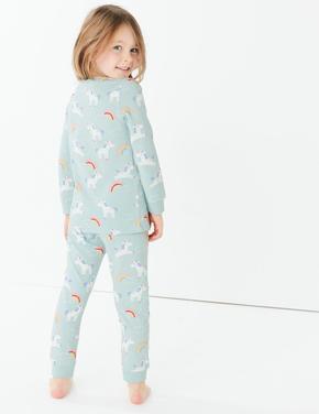 Unicorn ve Gökkuşağı Desenli Pijama Takımı