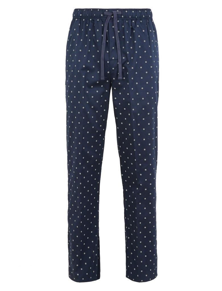 Erkek Lacivert Saf Pamuklu Desenli Pijama Altı
