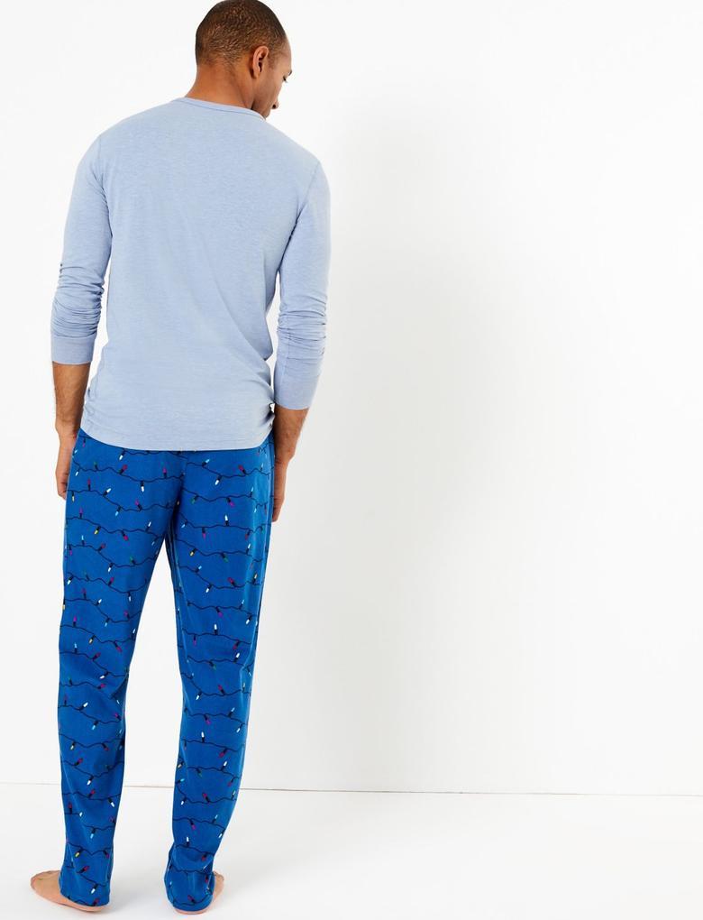 Lacivert Desenli Pijama Altı
