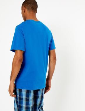 Erkek Mavi Sloganlı Pijama Üstü