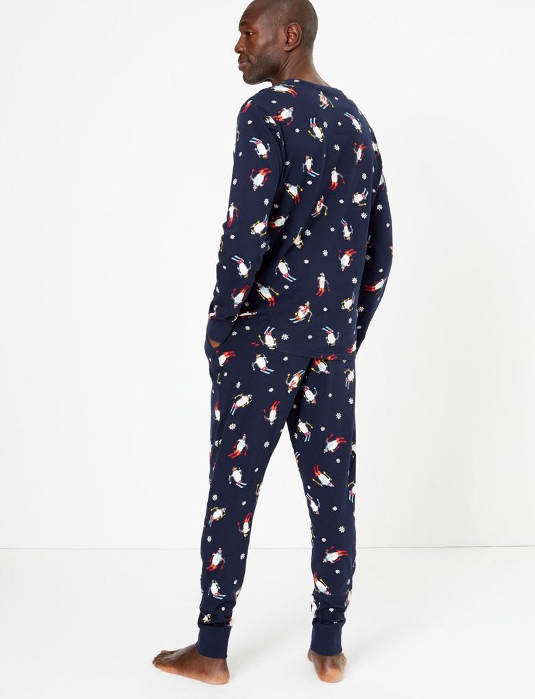 Erkek Lacivert Saf Pamuklu Penguen Desenli Pijama Takımı