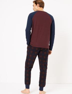 Erkek Mor Supersoft Ekose Pijama Takımı