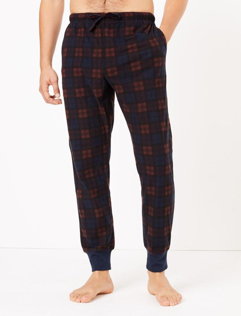 Erkek Mor Luxury Supersoft Ekose Pijama Takımı
