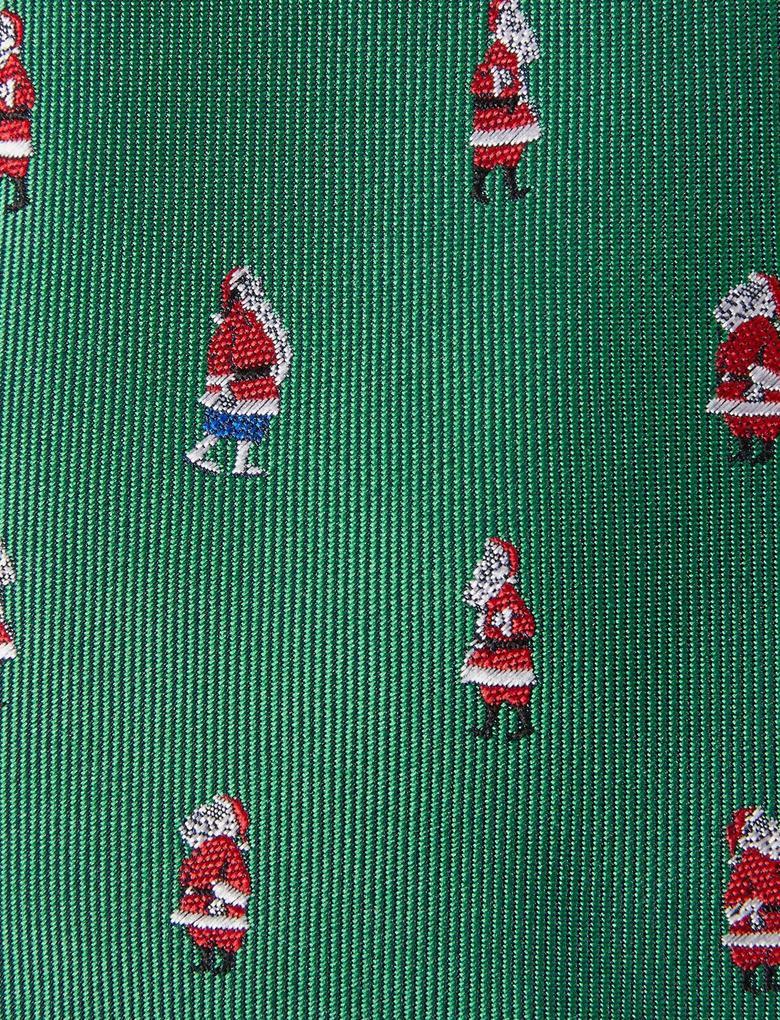 Erkek Yeşil Noel Baba Desenli Slim Kravat
