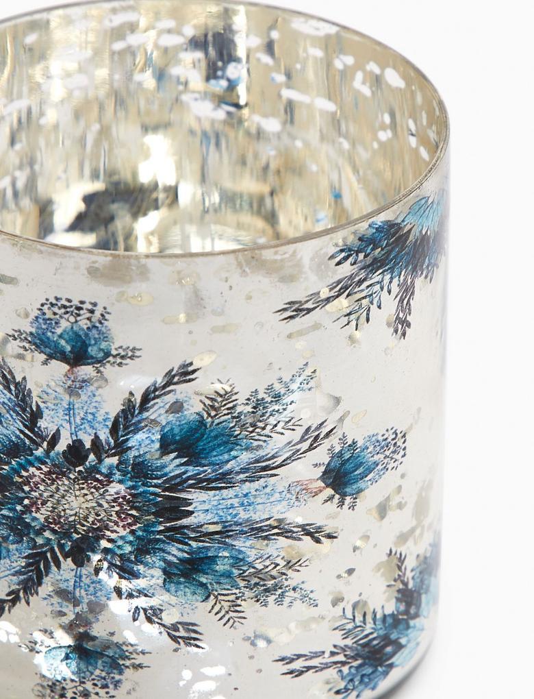 Ev Metalik Kartanesi Desenli Cam Tealight Mumluk