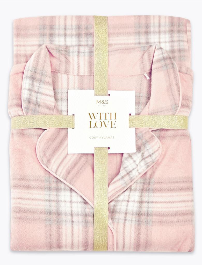 Kadın Pembe Ekose Polar Pijama Takımı