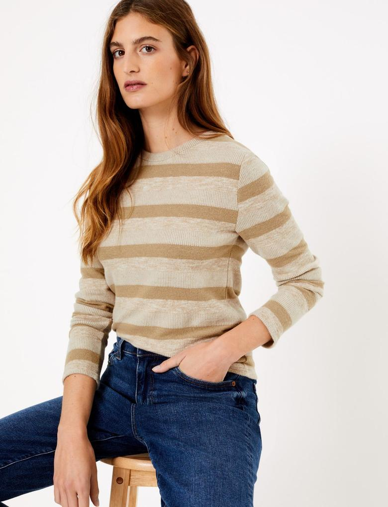 Kadın Renksiz Pırıltılı Çizgili Sweatshirt