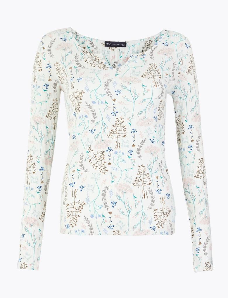 Kadın Krem Fitted Uzun Kollu T-Shirt