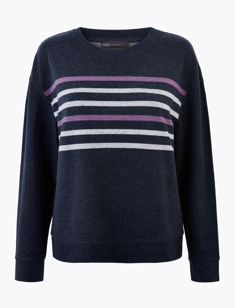 Kadın Lacivert Çizgili Straight Fit Sweatshirt