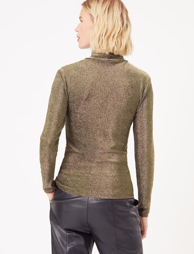 Kadın Kahverengi Metalik Uzun Kollu Bluz
