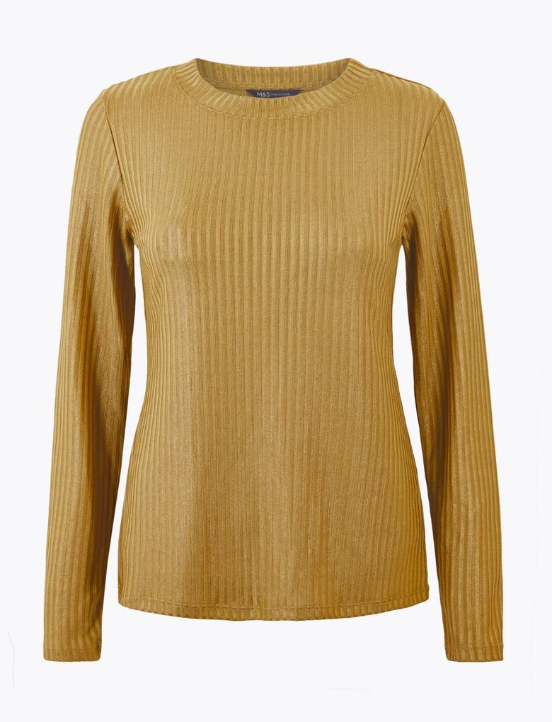 Kadın Kahverengi Fitted Uzun Kollu T-Shirt