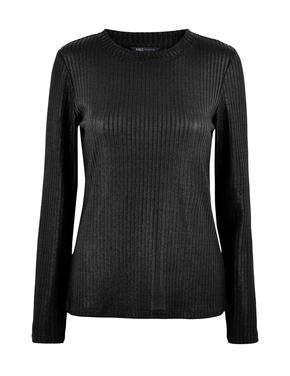 Kadın Siyah Fitted Uzun Kollu T-Shirt