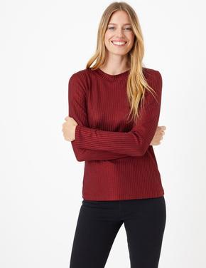 Kadın Bordo Fitted Uzun Kollu T-Shirt