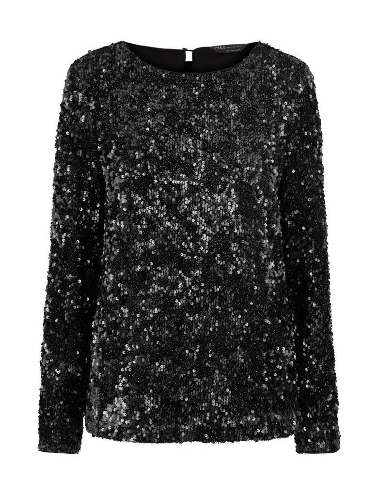 Kadın Siyah Uzun Kollu Pullu Bluz