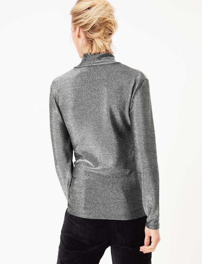 Metalik Uzun Kollu Bluz