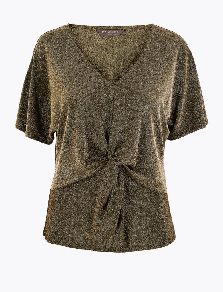 Kahverengi Metalik V Yaka Bluz