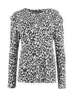 Kadın Siyah Uzun Kollu Desenli Bluz