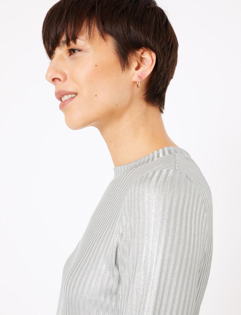 Kadın Metalik Fitted Uzun Kollu T-Shirt