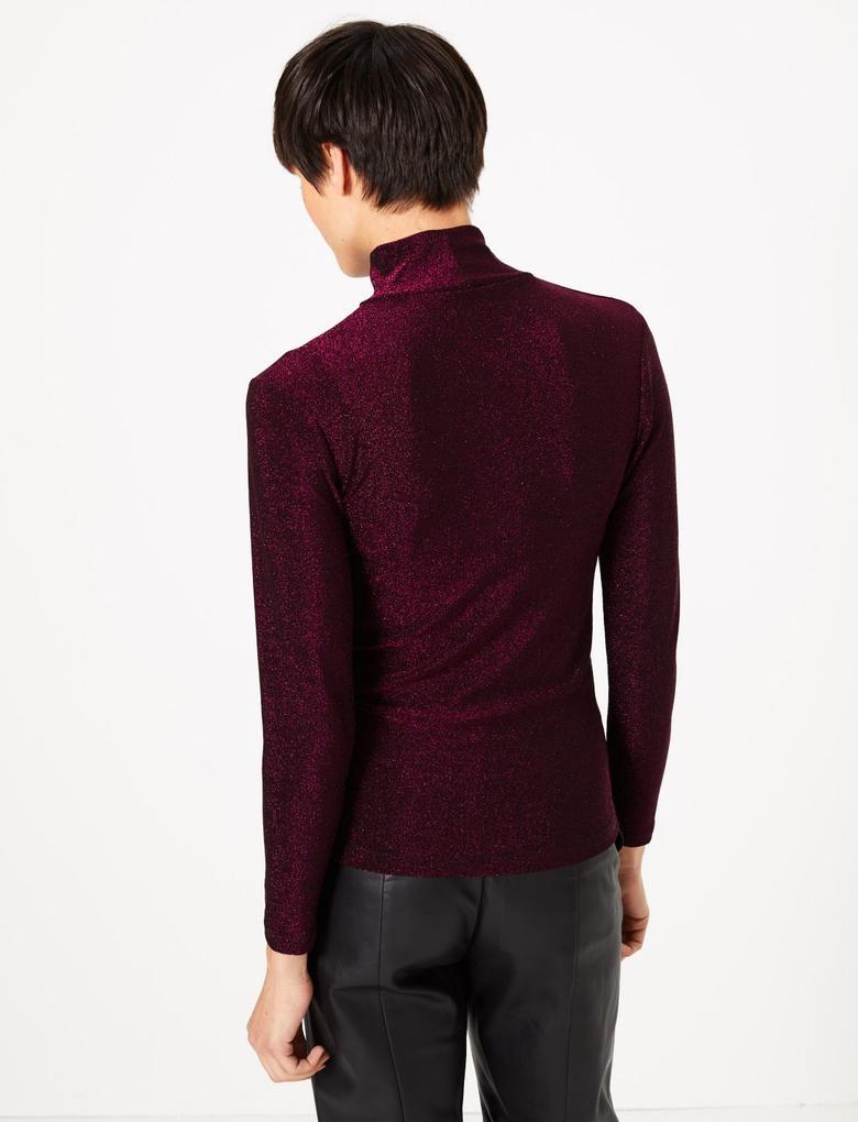 Kadın Kırmızı Metalik Uzun Kollu Bluz