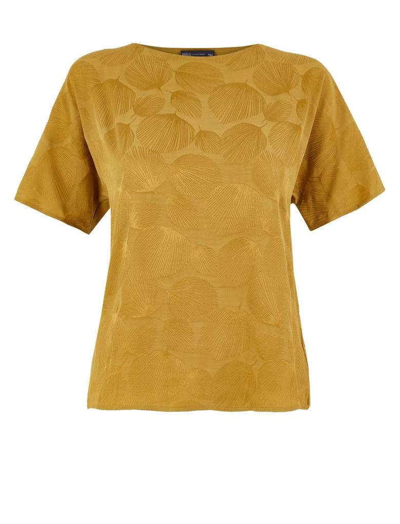 Kadın Kahverengi Jakarlı Straight Fit Bluz
