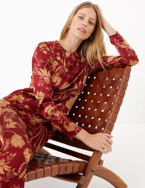Saten Waisted Midi Elbise
