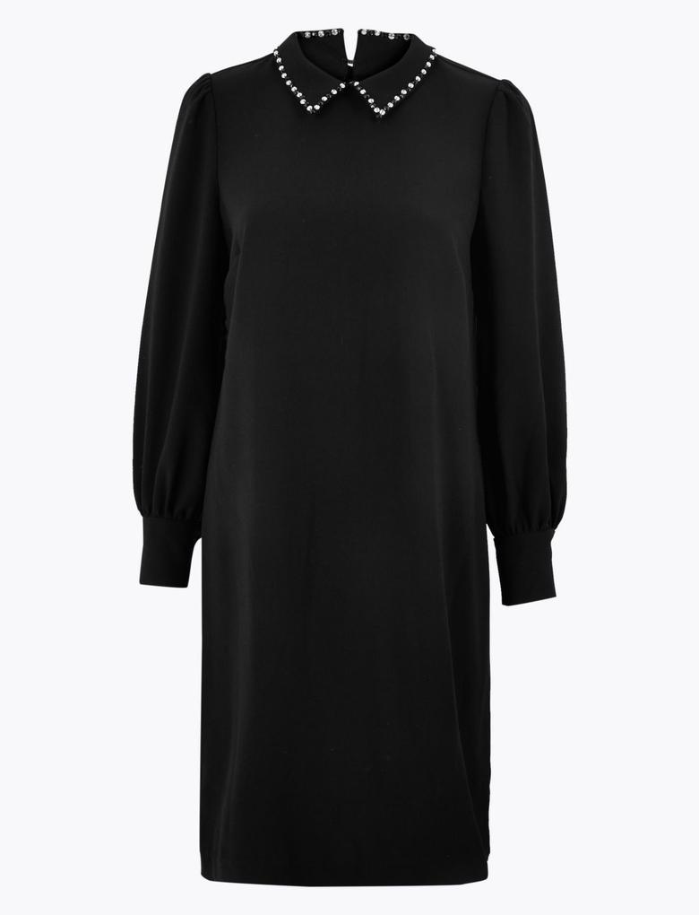 Kadın Siyah Pullu Yaka Shift Elbise
