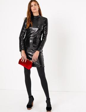 Pullu Mini Elbise