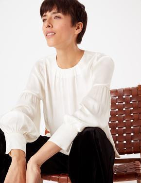Kadın Beyaz Yakası Büzgülü Bluz