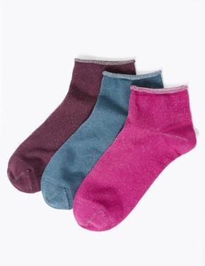 Kadın Pembe 3'lü Pırıltılı Soket Çorap