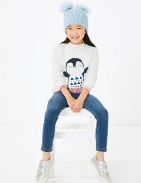 Kız Çocuk Bej Penguen Desenli Kazak