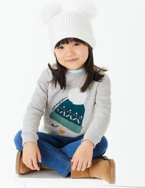 Ponponlu Şapka Desenli Sweatshirt