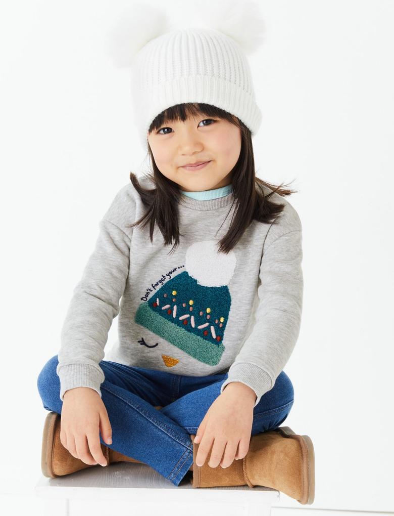 Kız Çocuk Gri Ponponlu Şapka Desenli Sweatshirt