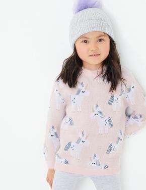 Kız Çocuk Pembe Unicorn Desenli Kazak