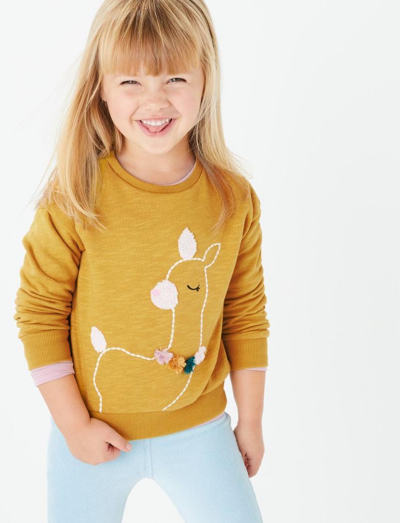 Kız Çocuk Sarı Lama Desenli Kazak